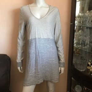 Saturday Sunday White Gray Stripe Sweater Dress